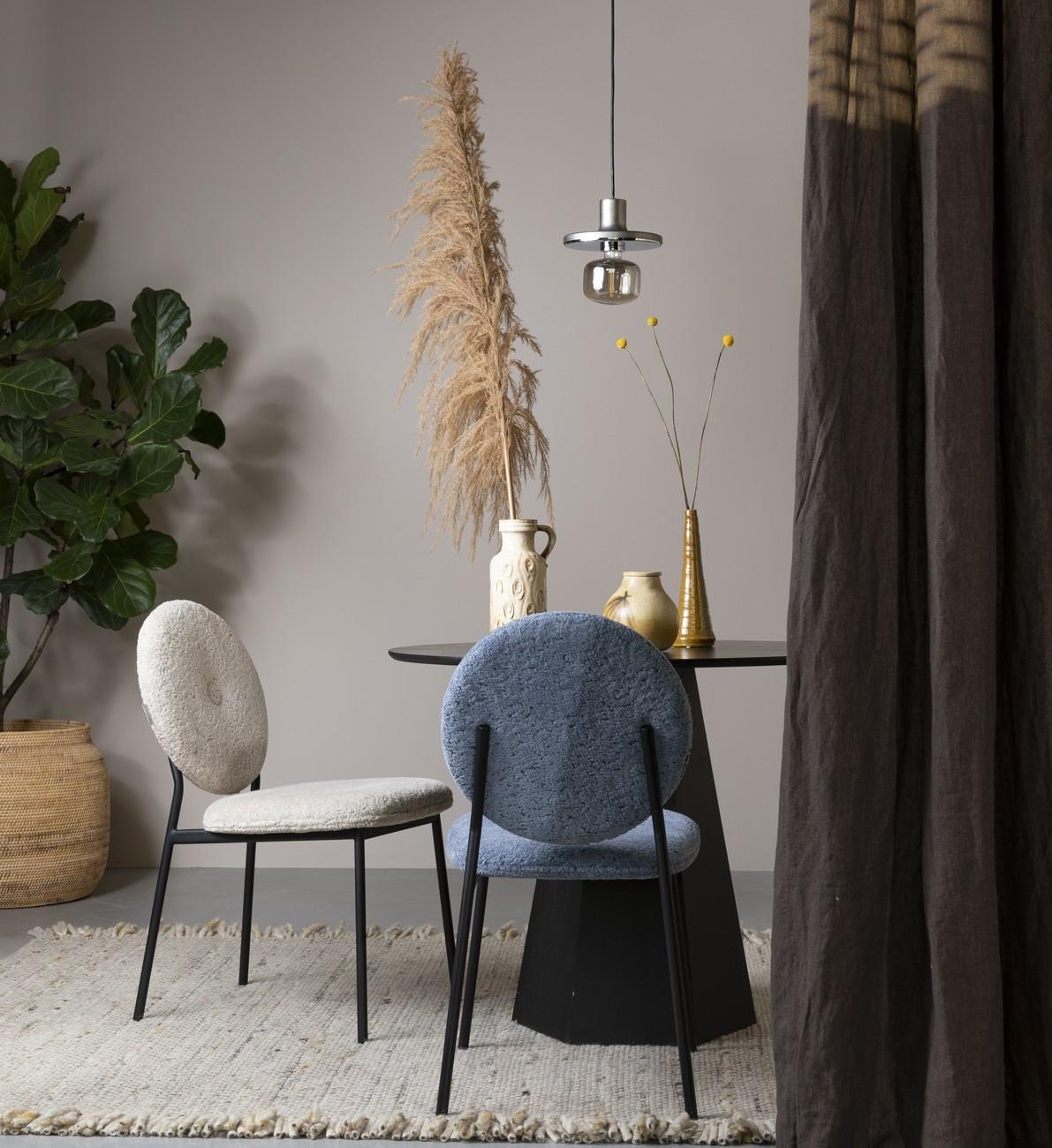 Chaise design de repas tissu lainé beige