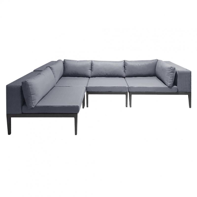 Canapé d'angle de jardin aluminium gris et revêtement déperlant