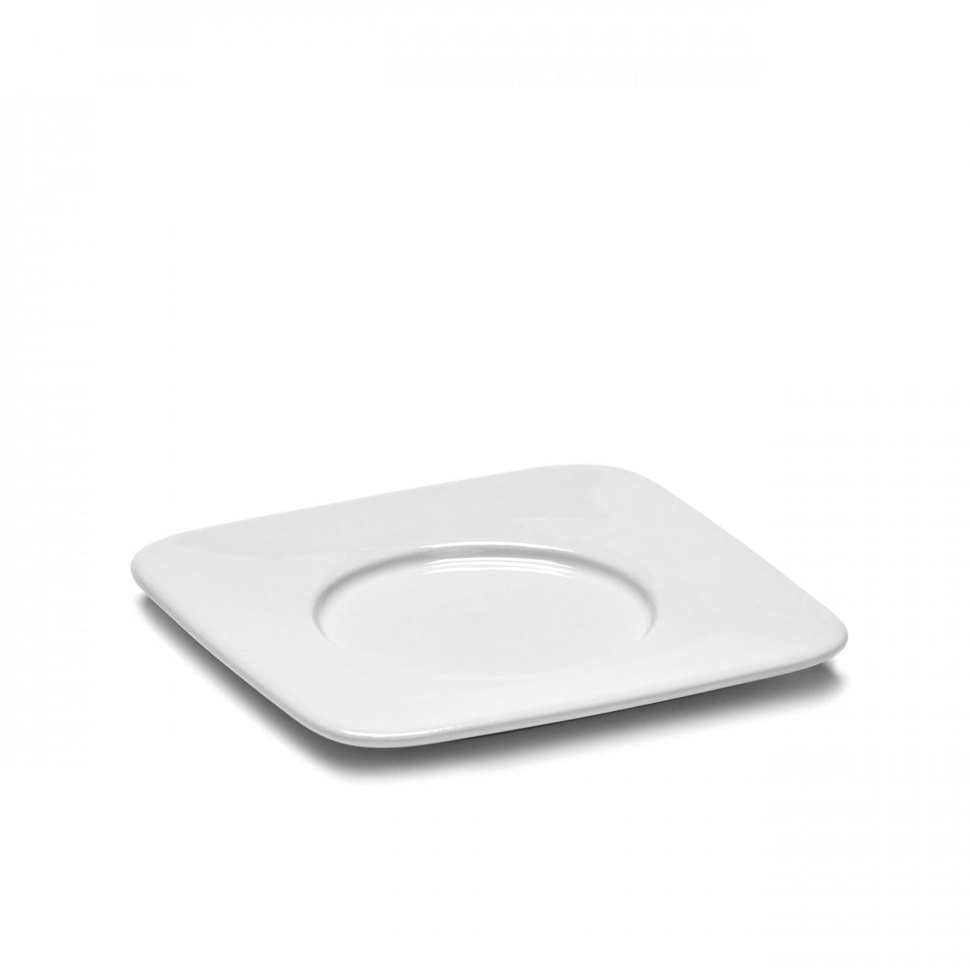 Soucoupe carrée en porcelaine blanche 11,2x11,2cm