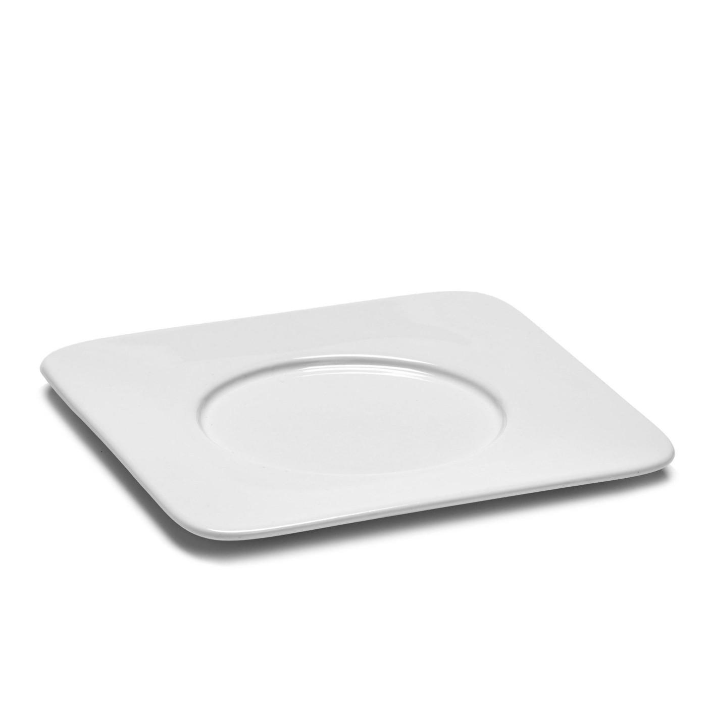 Soucoupe carrée en porcelaine blanche 14,7x14,7cm