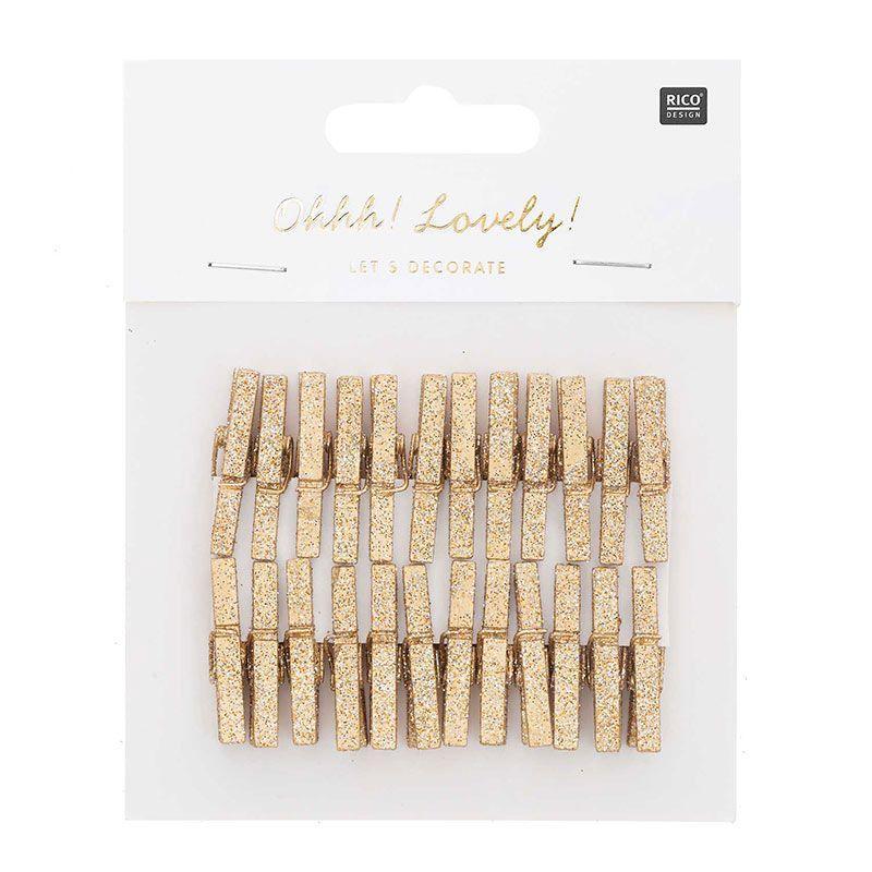 24 petites pinces à linge bois pailletées dorées