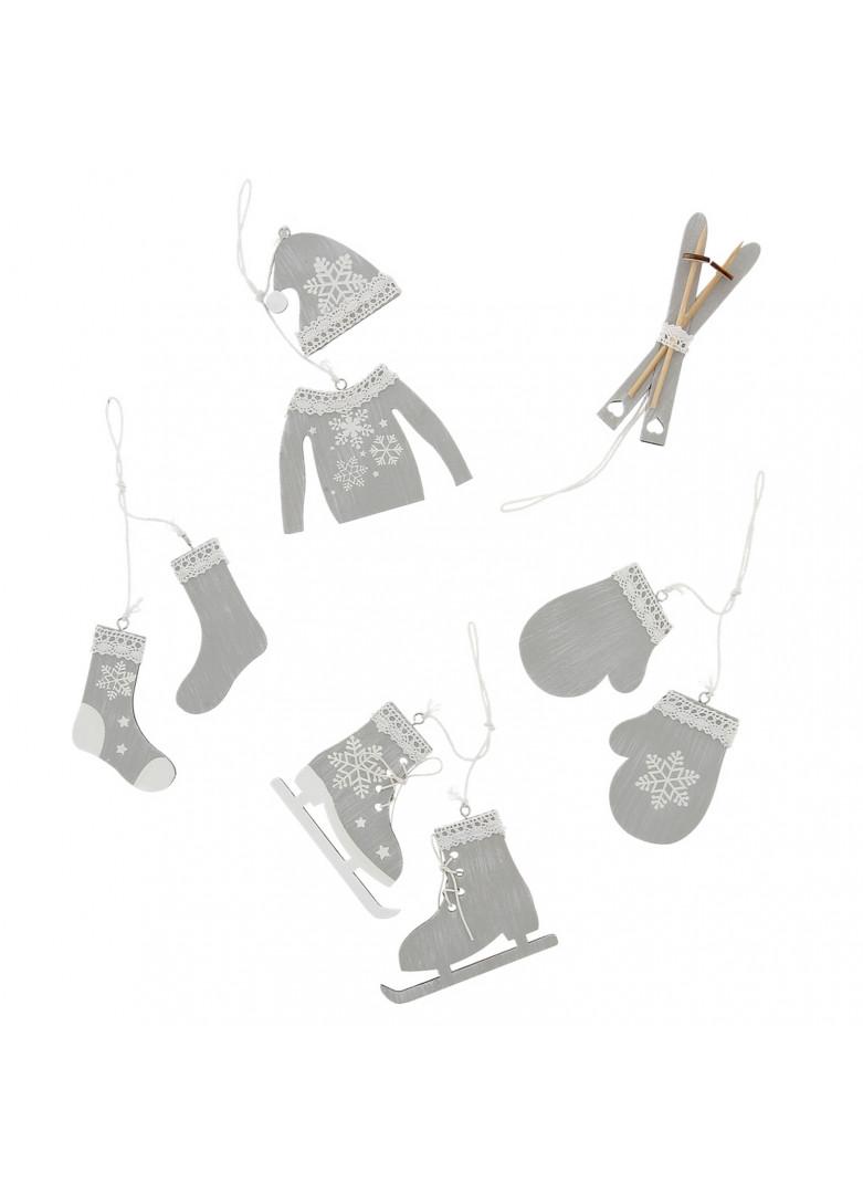 Assortiment 5 suspensions cérusées : moufle/pull/ski/patin/chaussette
