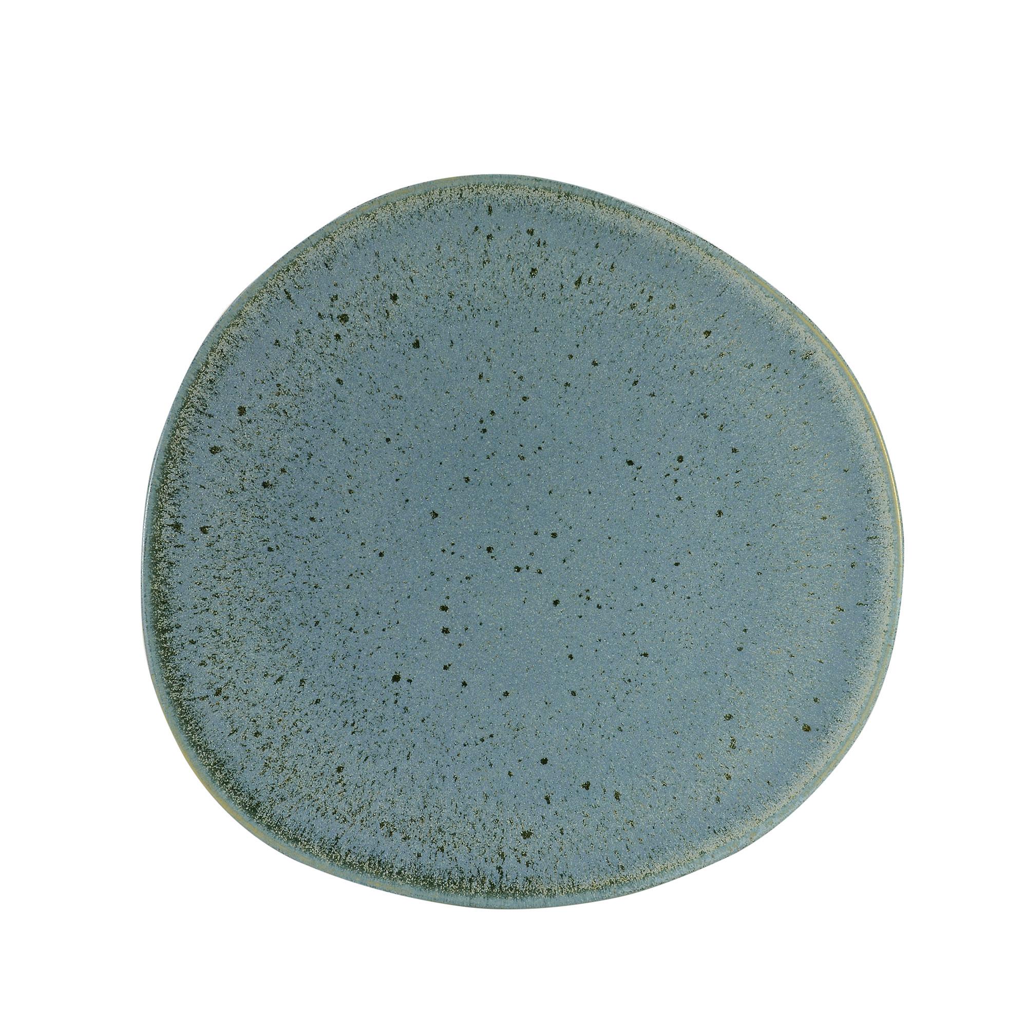 Assiette dessert en grès réactif bleu 22 cm - Lot de 6