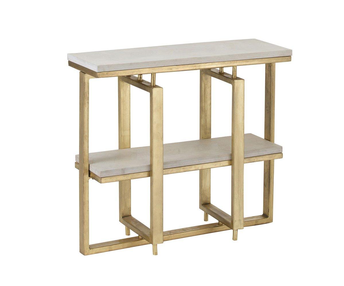 Console design bois et métal blanc et or