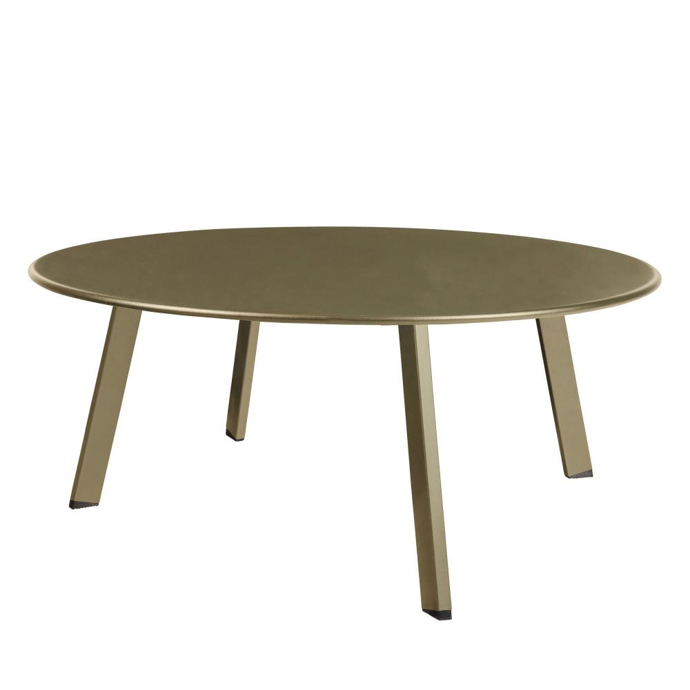 Table basse ronde en métal 70cm Taupe