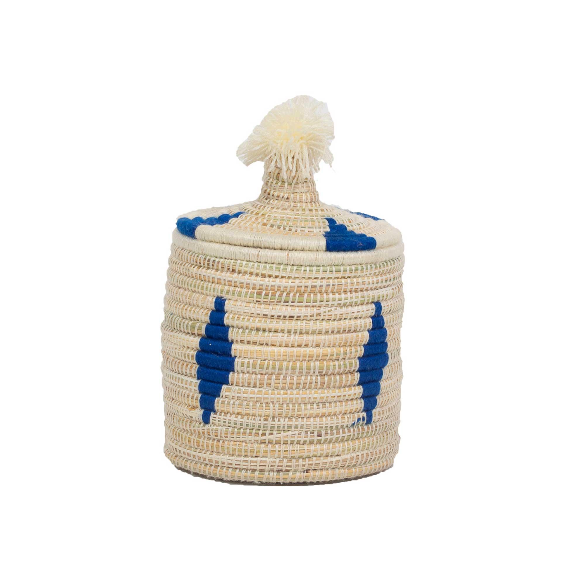 Boîte berbère en laine et osier à motif bleu