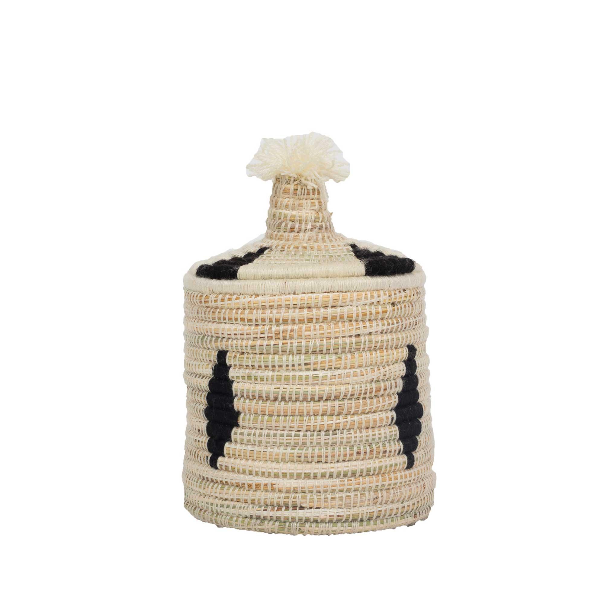 Boîte berbère en laine et osier motif noir