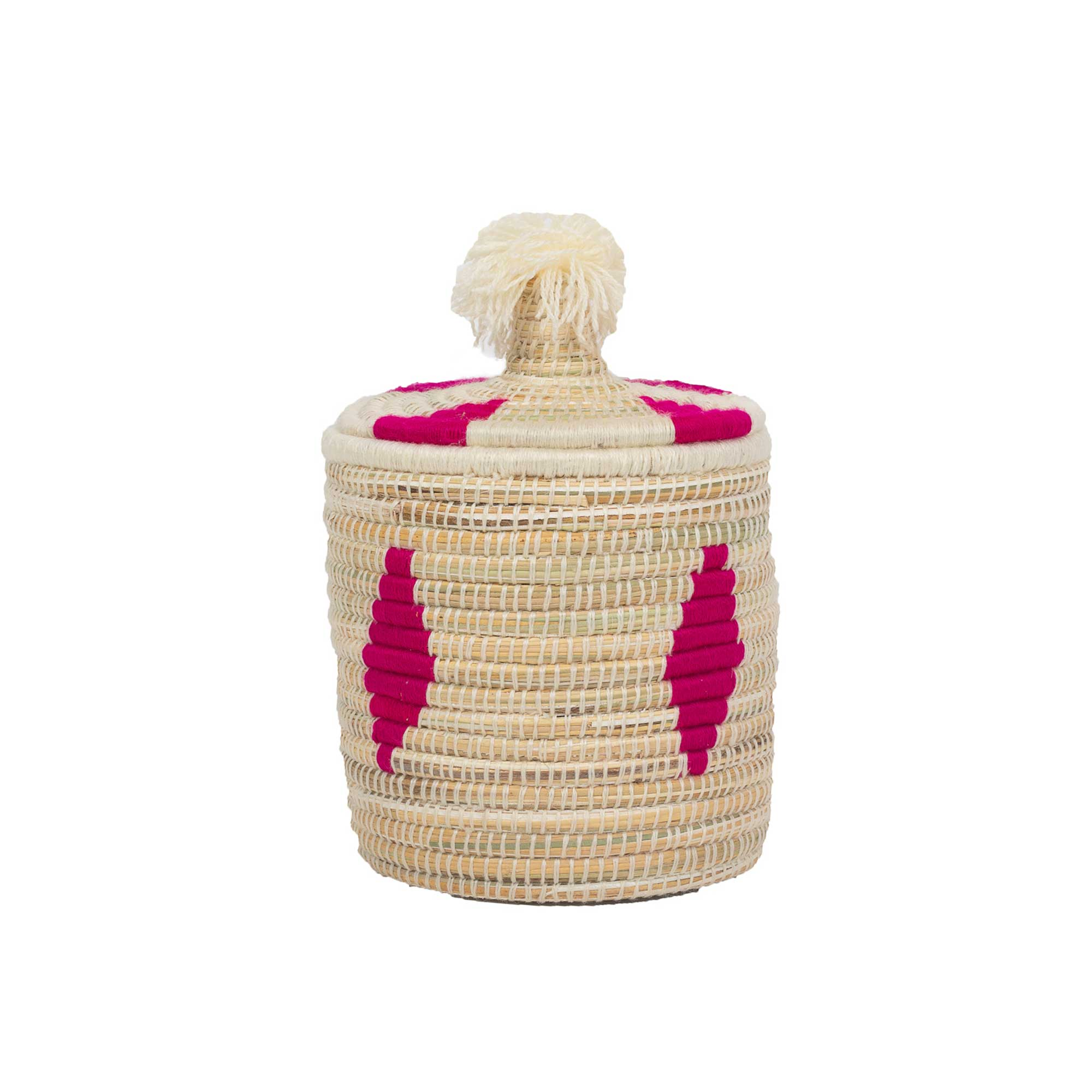 Boîte berbère en laine et osier motif rose