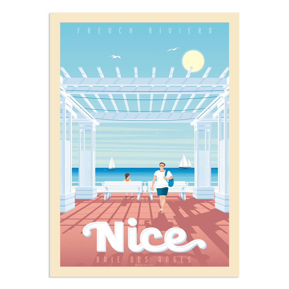 Affiche Nice Baie des Anges 30x40 cm