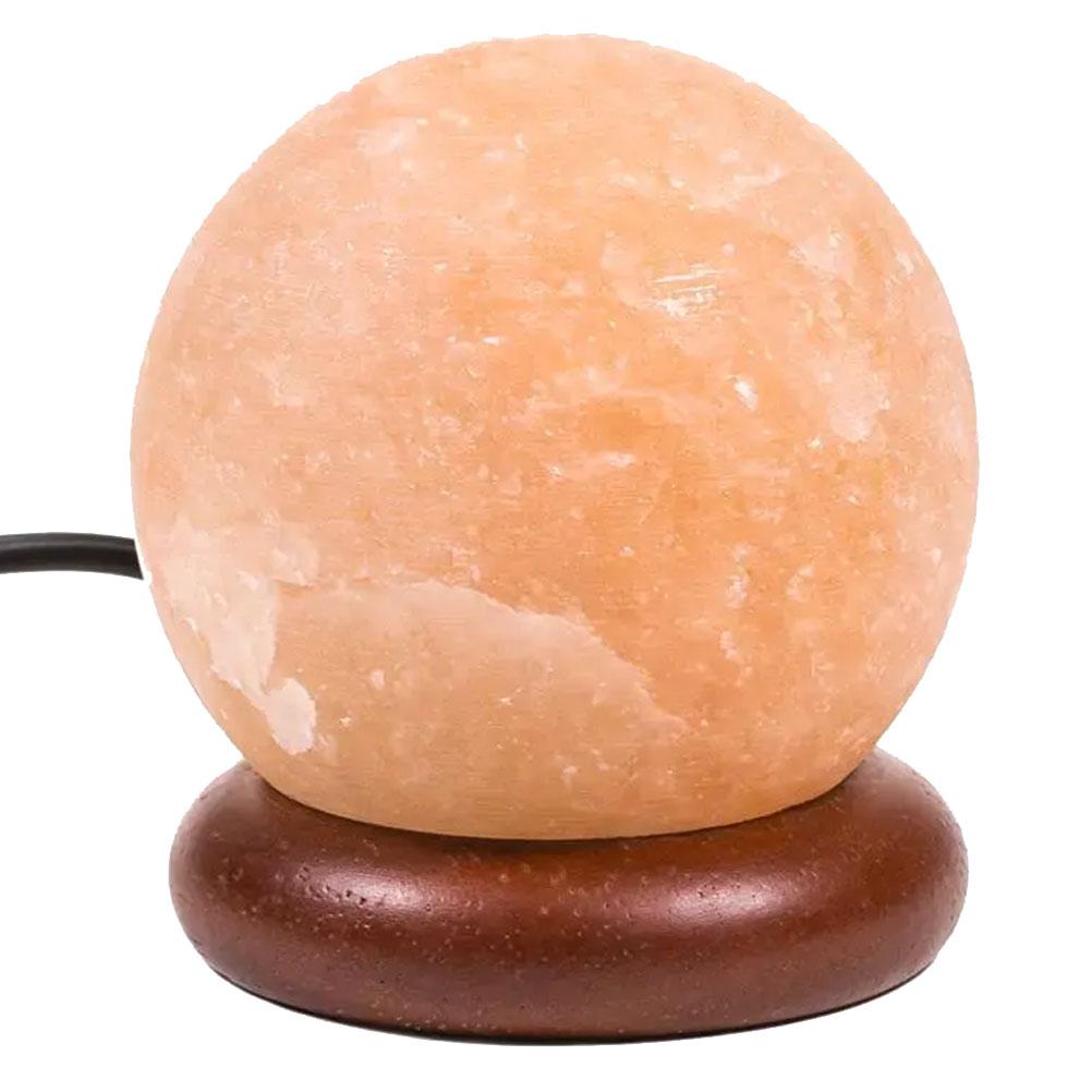 Mini lampe sphère de sel de l'Himalaya orange LED