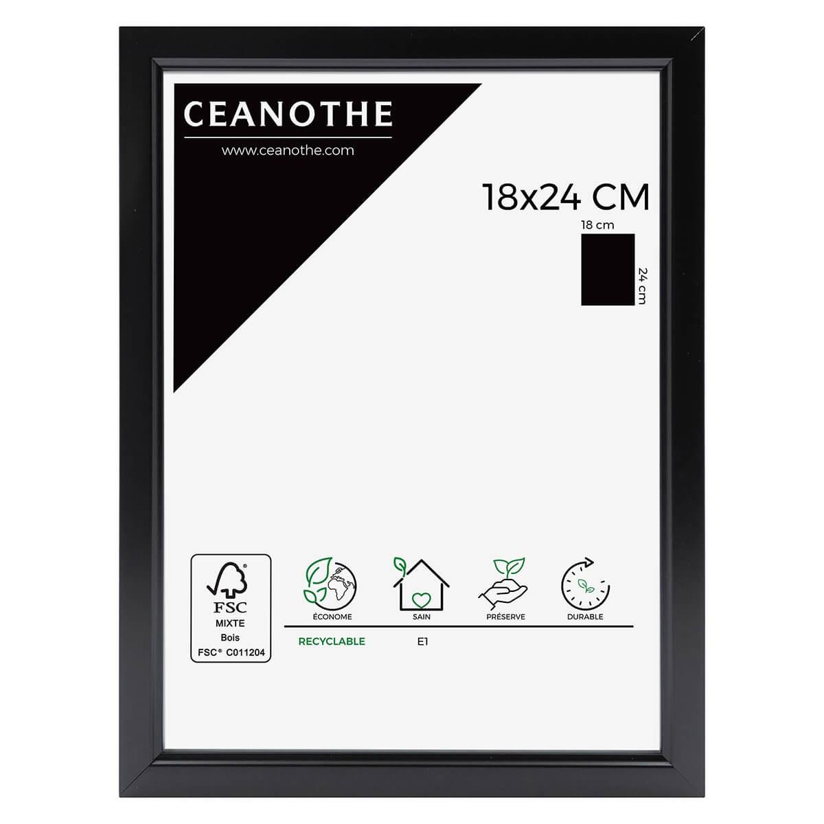 Cadre photo noir résine plastique 18x24