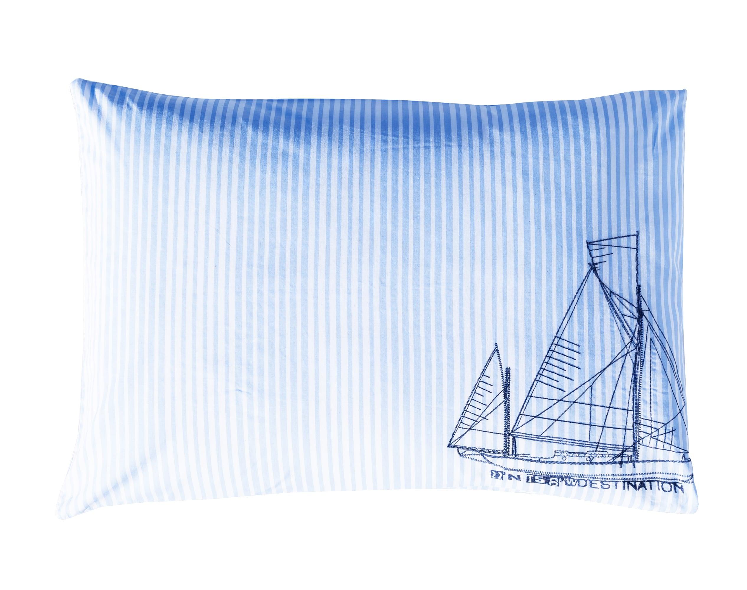 Taie d'oreiller rectangulaire en coton bleu