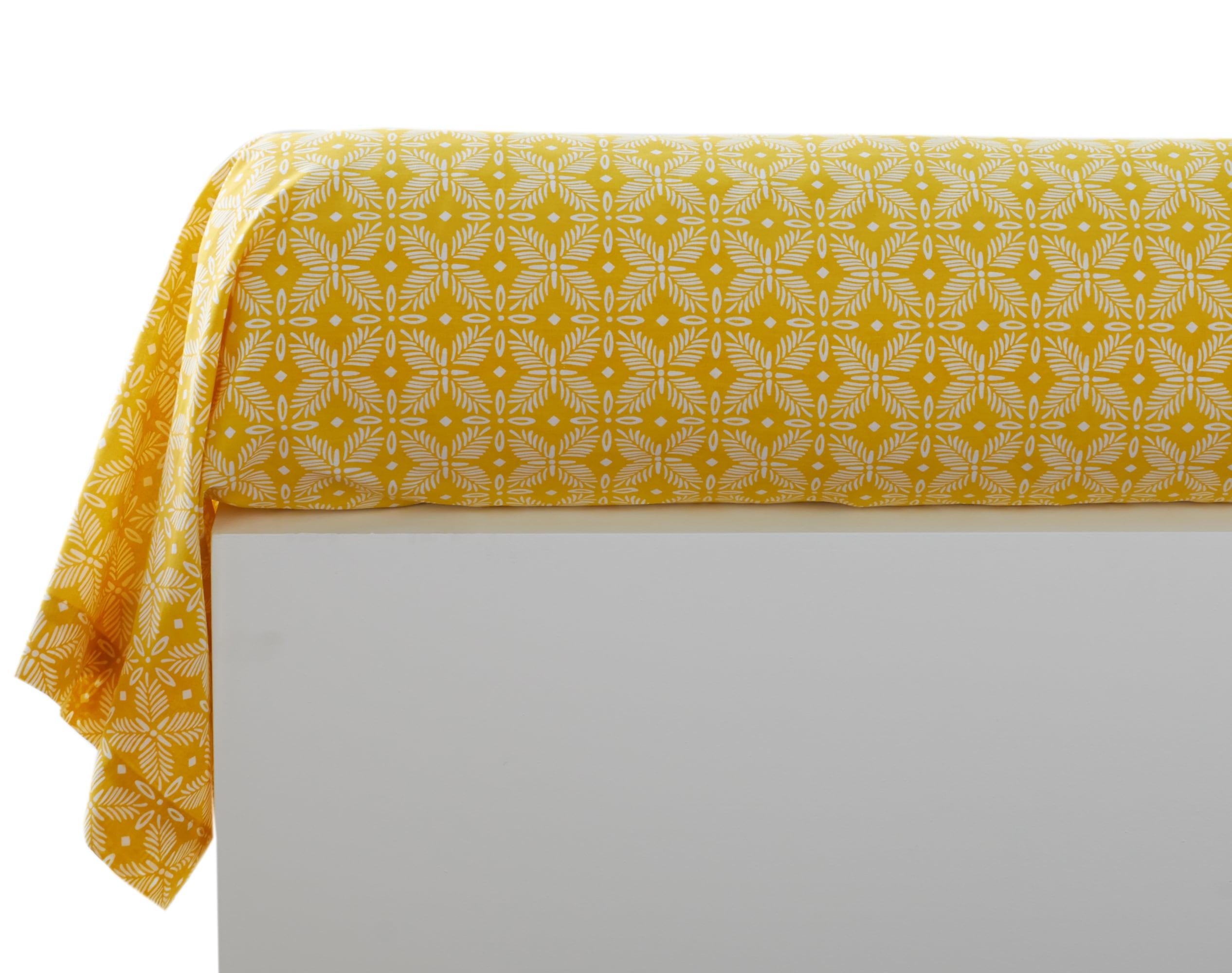 Taie de traversin 43x185 en coton jaune citron