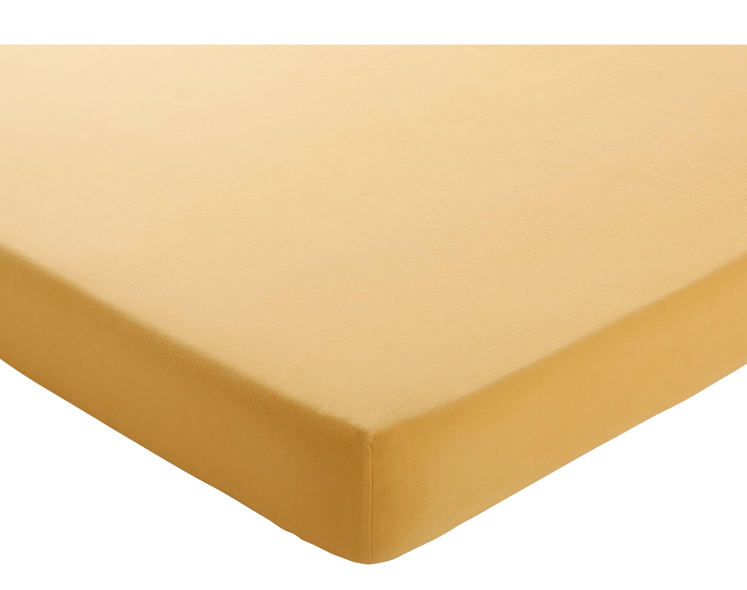 Drap-housse 90x200 en gaze de coton jaune