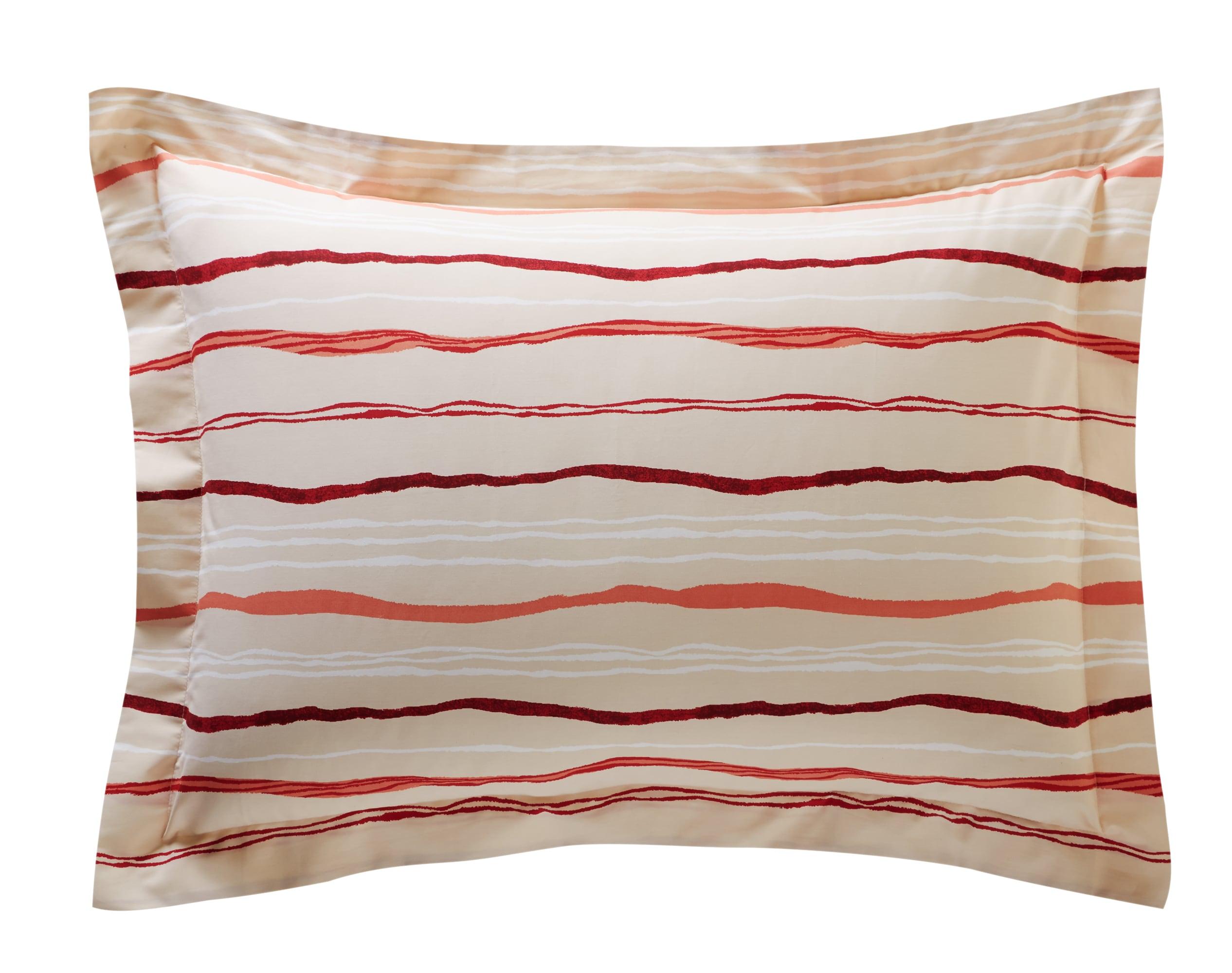 Taie d'oreiller rectangulaire en percale de coton orange corail