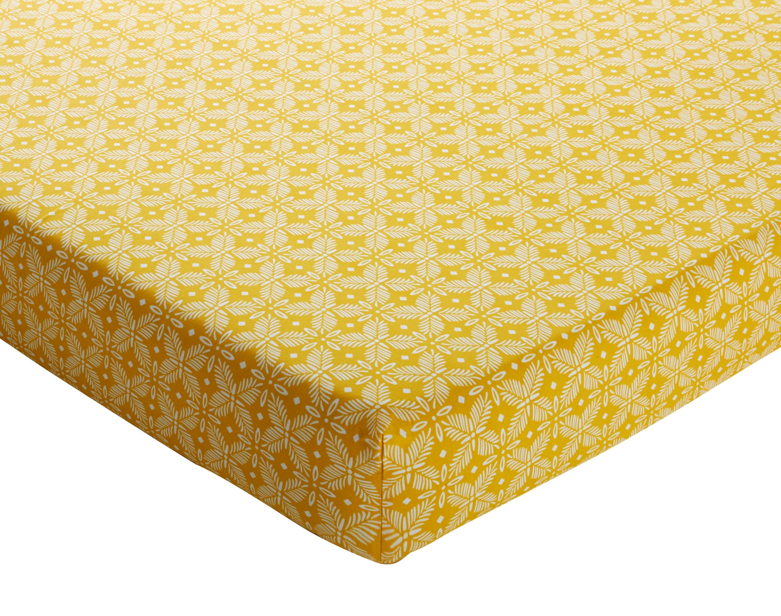 Drap-housse 140x190 en coton jaune citron