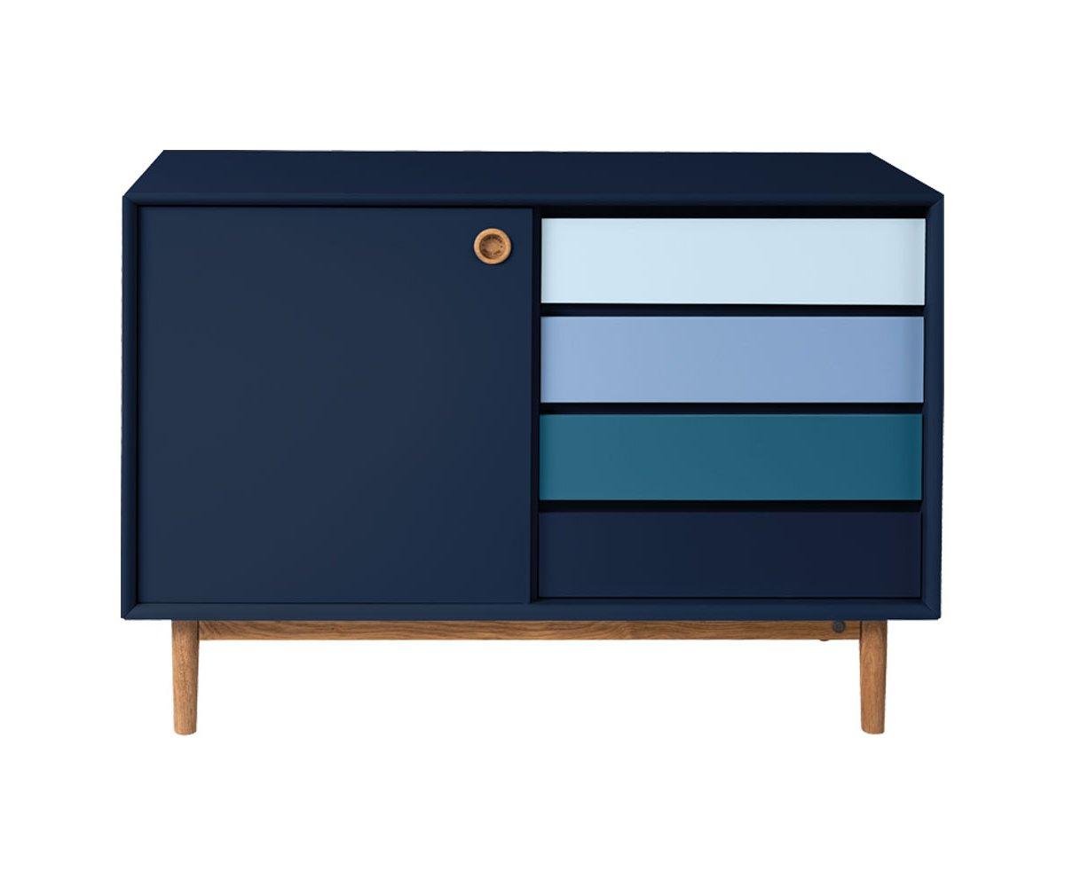 Petit buffet moderne avec placard et tiroirs bleu