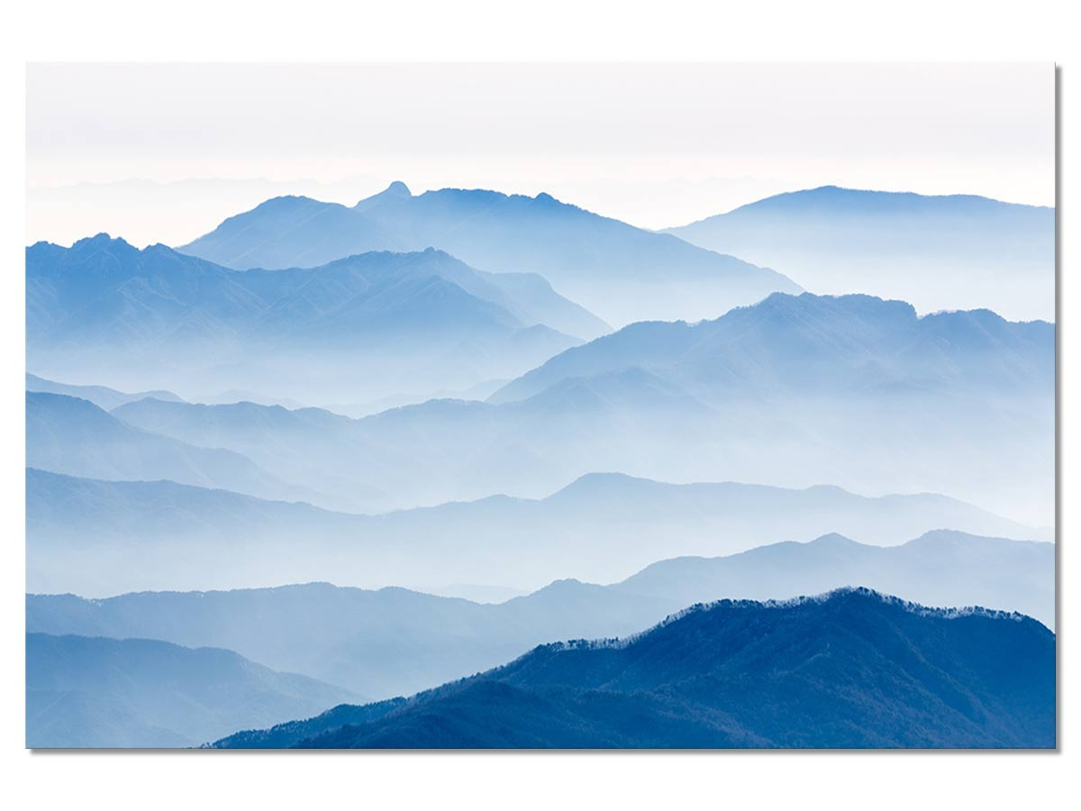Tableau montagnes bleues 50x30