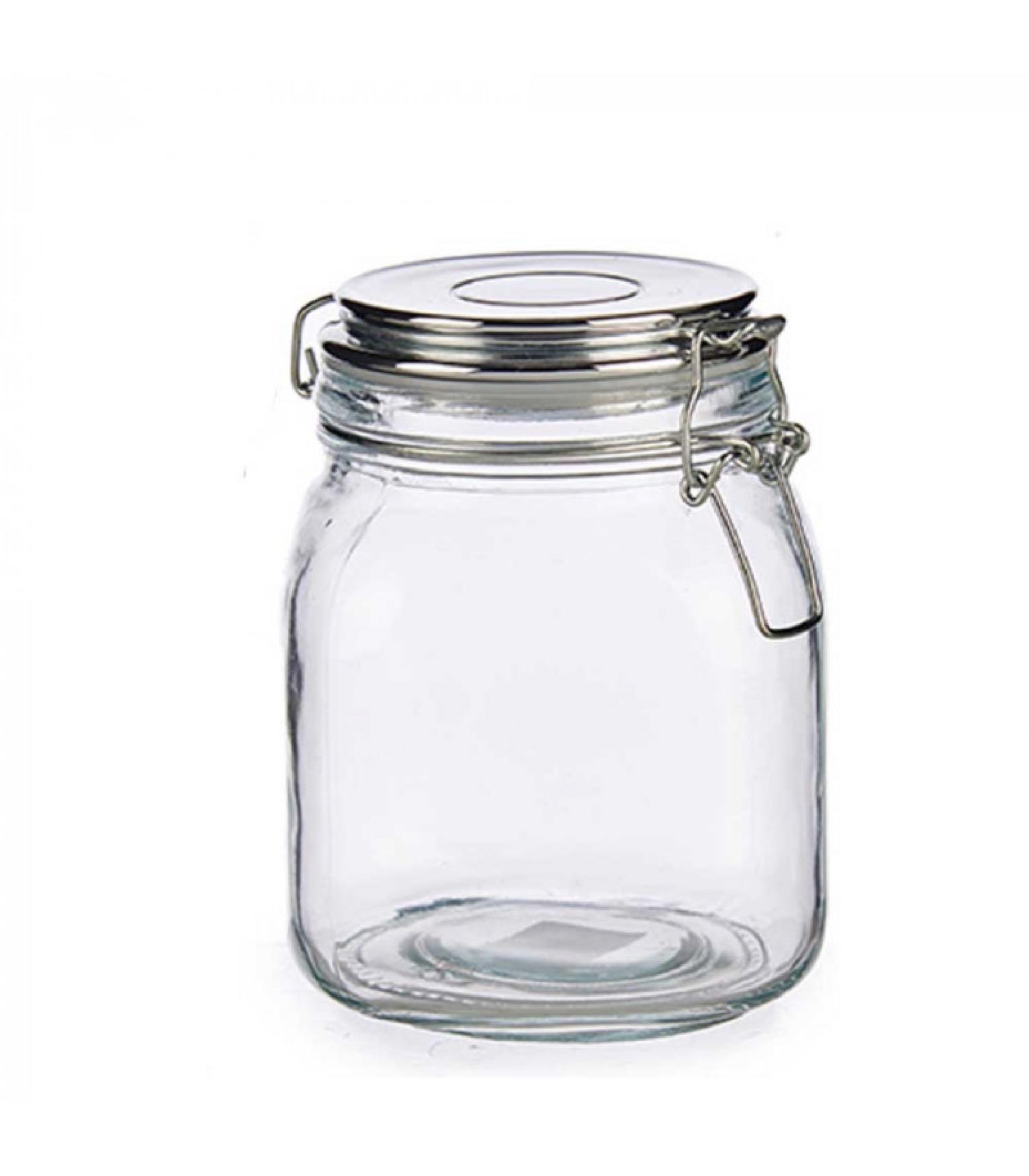 Bocal cuisine hermétique en verre couvercle clip métal chromé 1L