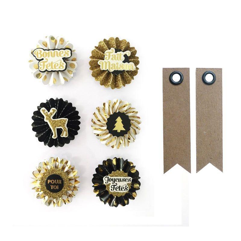 6 stickers 3D médaillons de Noël 4 cm + 20 étiquettes kraft fanion
