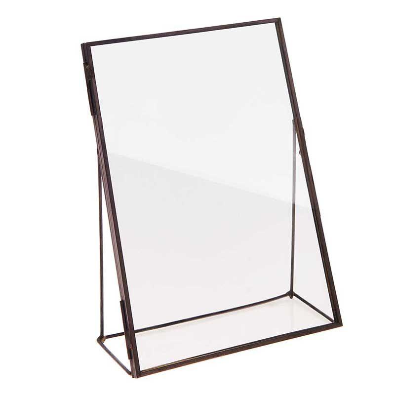 Cadre en métal noir à poser double plaque de verre 13x18cm
