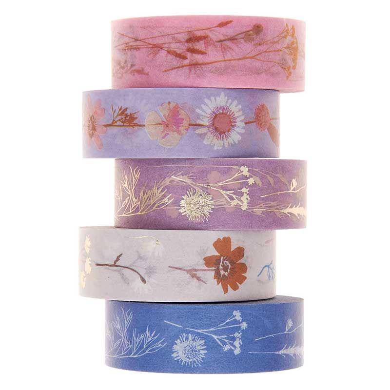 5 masking tapes fleurs 1,5cmx10m