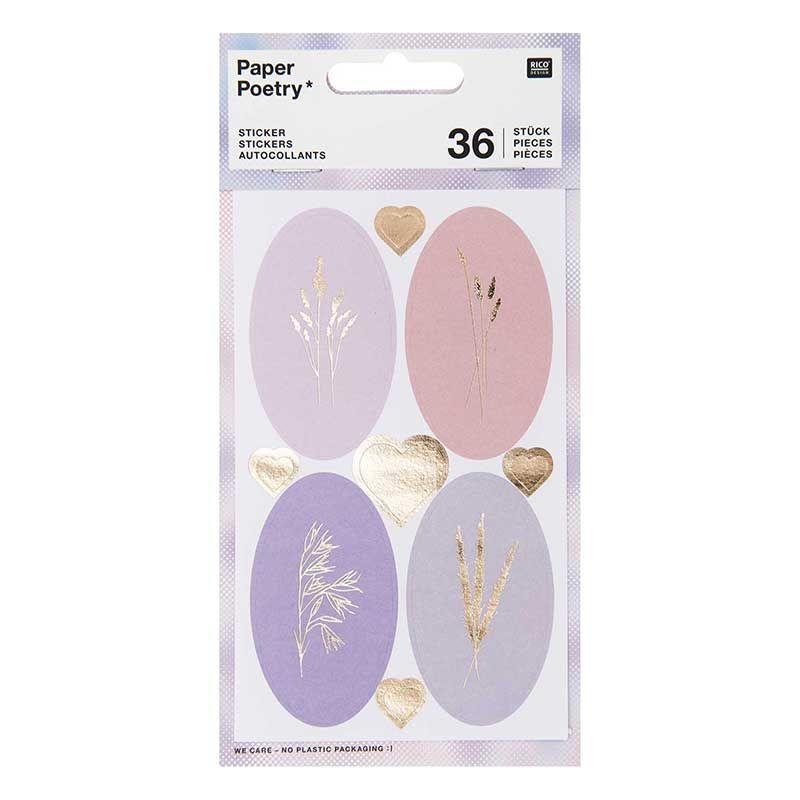 Stickers ovales aux motifs floraux 36 pièces