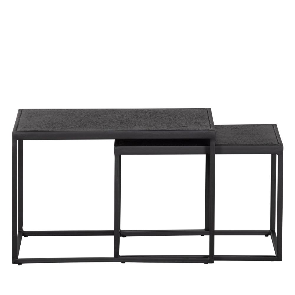 Lot de 2 tables gigognes extérieur en métal noir
