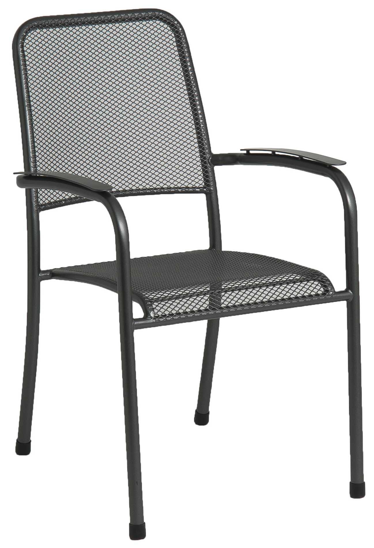 Chaise empilable en acier gris