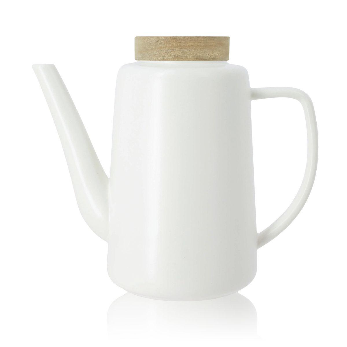 Théière avec couvercle en porcelaine et acacia 1,2L