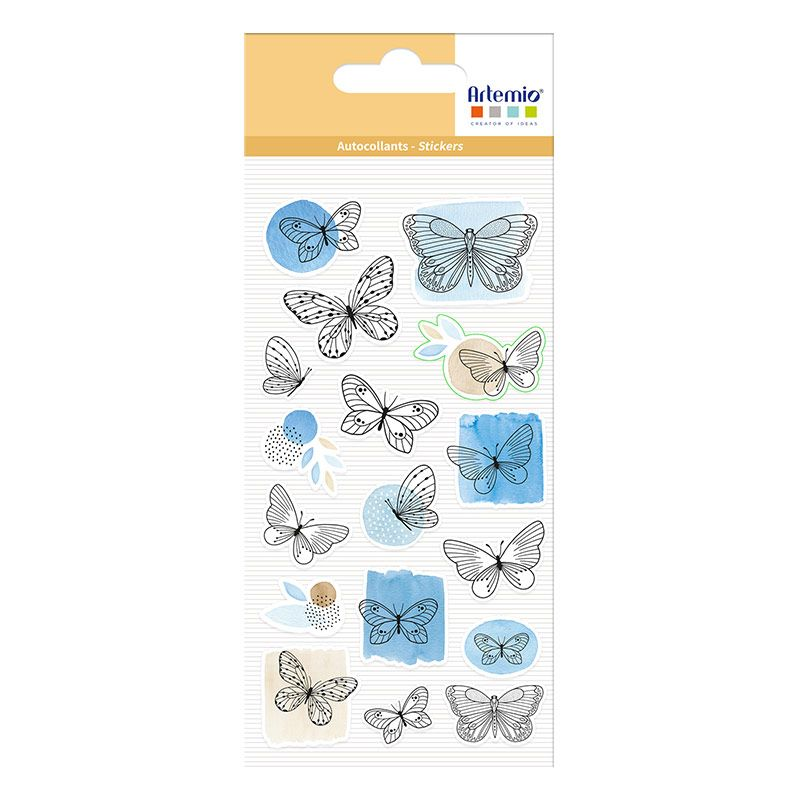 17 stickers puffies Papillons