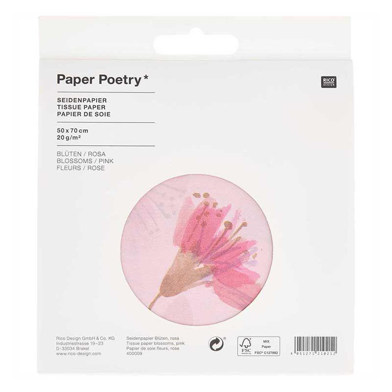 Papier de soie 5 feuilles fleurs de cerisier rose 50x70cm