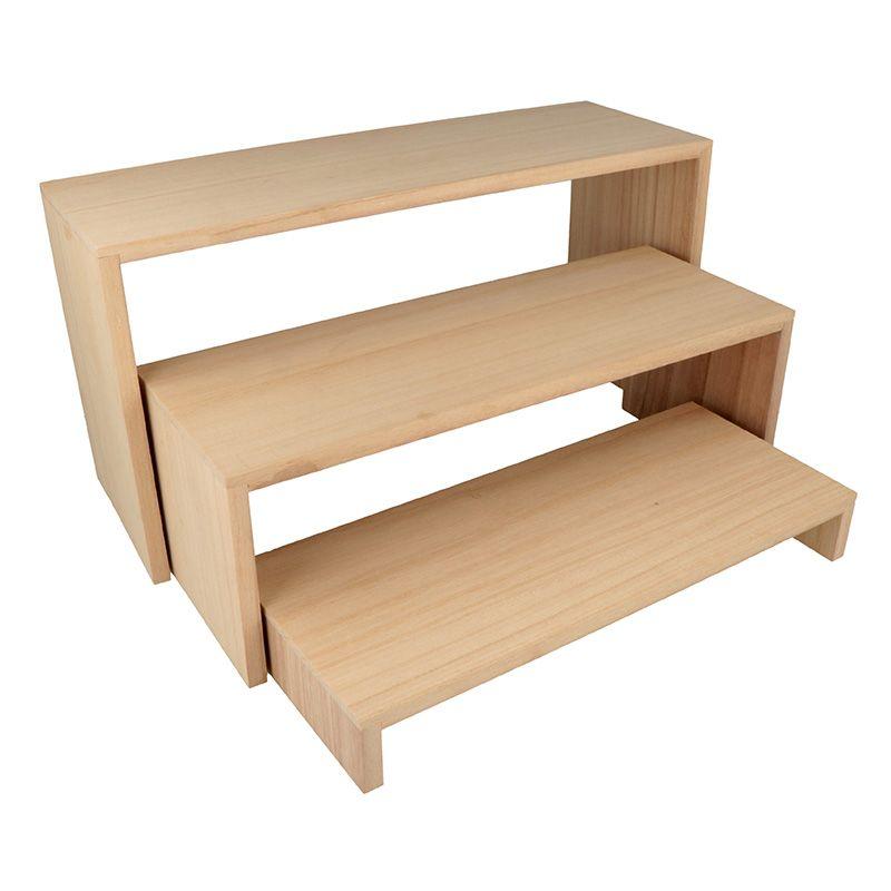 3 étagères escalier en bois 18x35cm