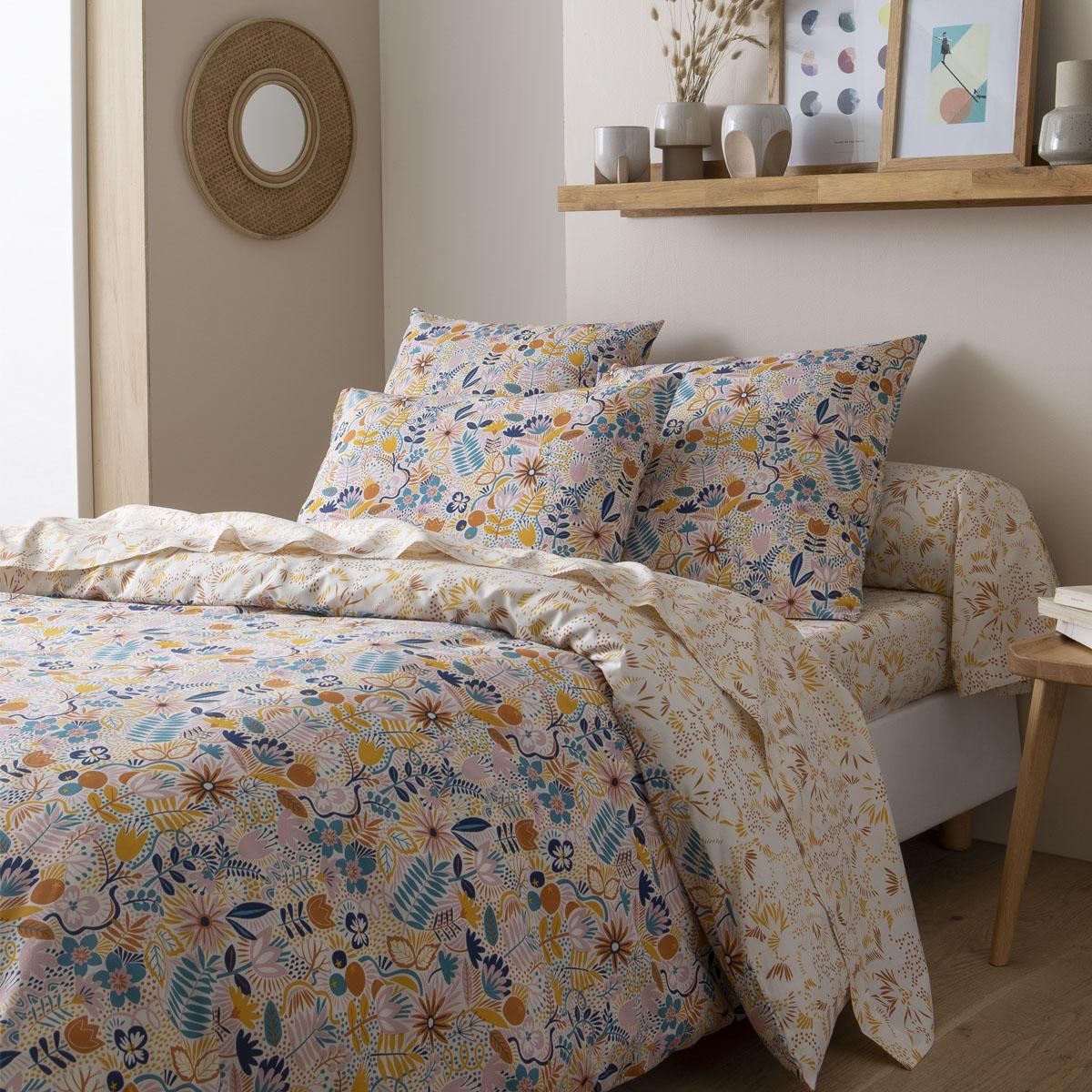 Parure de lit imprimée en bambou multicolore 260x240