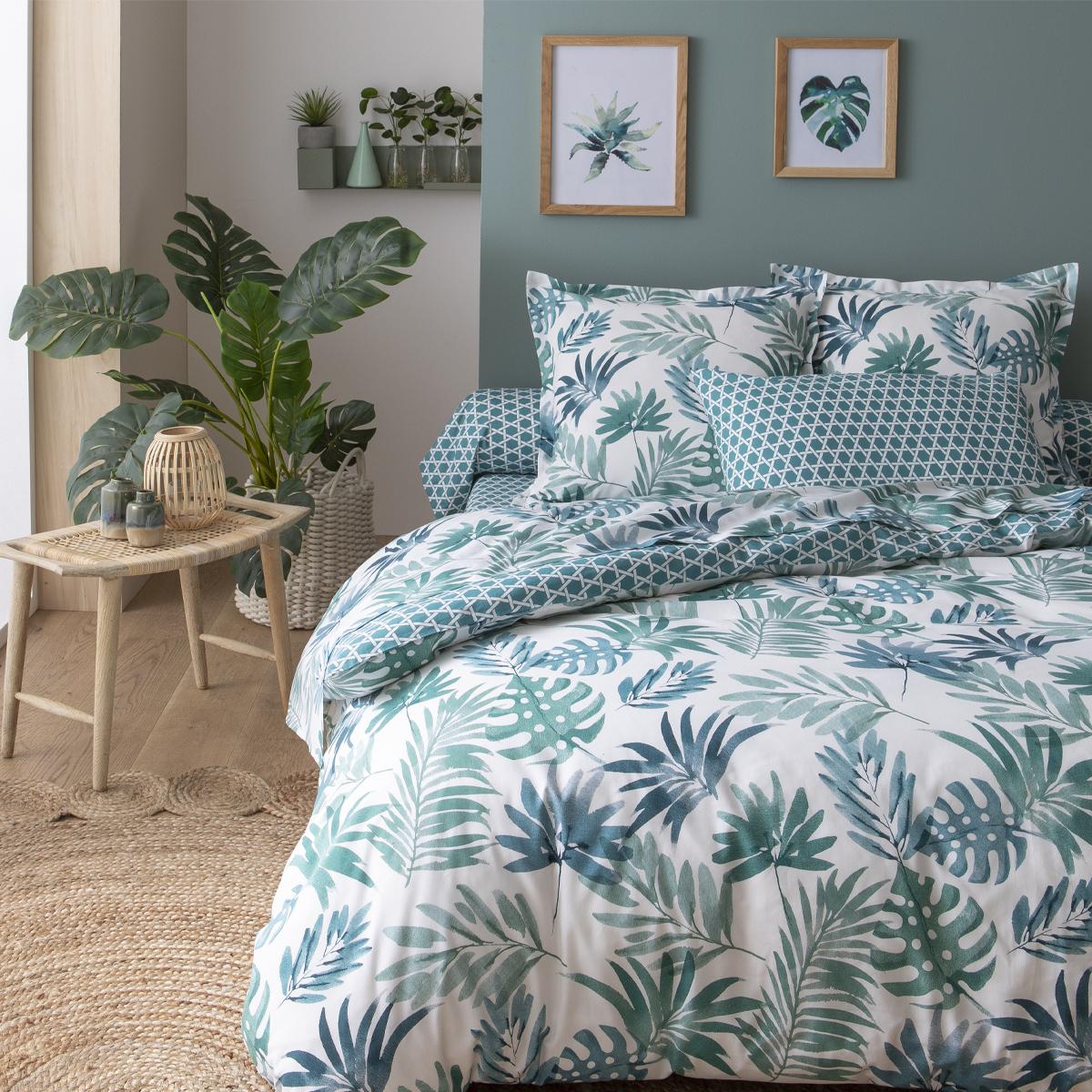Parure de lit imprimée en lyocell vert 140x200