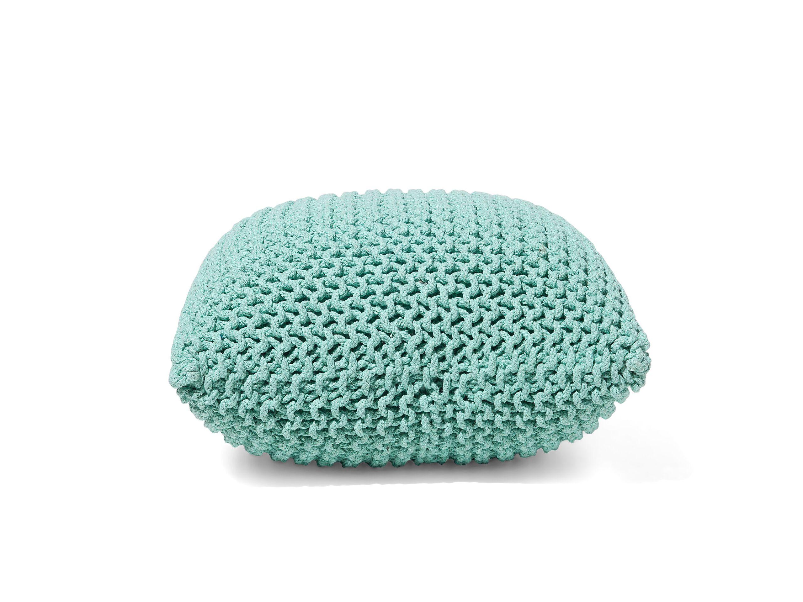 Pouf en coton vert émeraude 50 cm