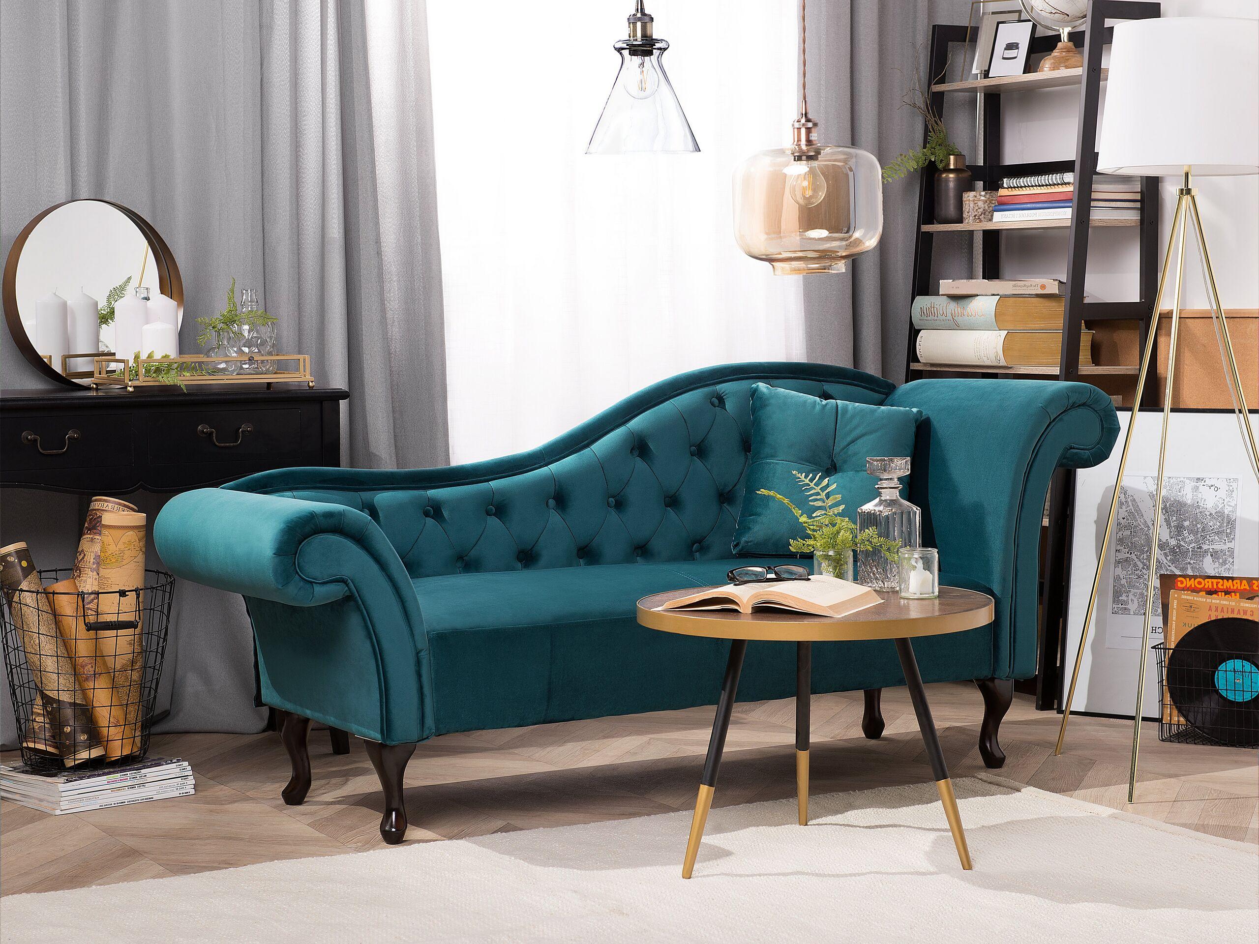 Chaise longue en velours bleu paon côté droit