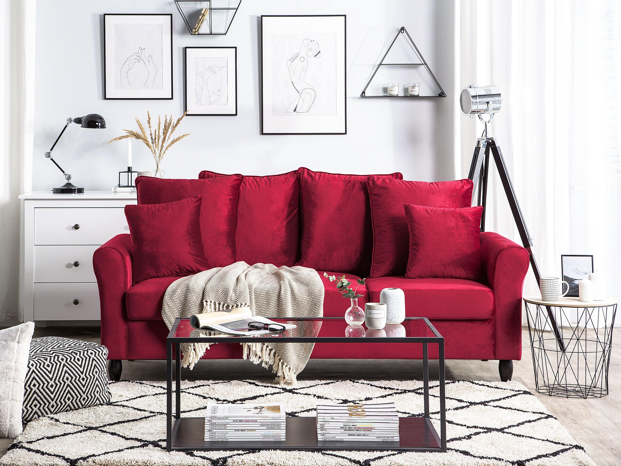 Canapé 3 places en velours rouge foncé