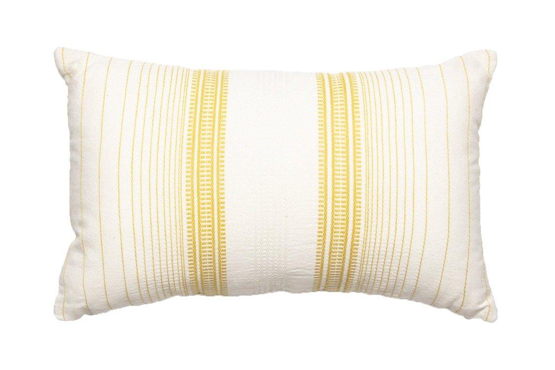 Coussin rayé en coton ocre 30x50
