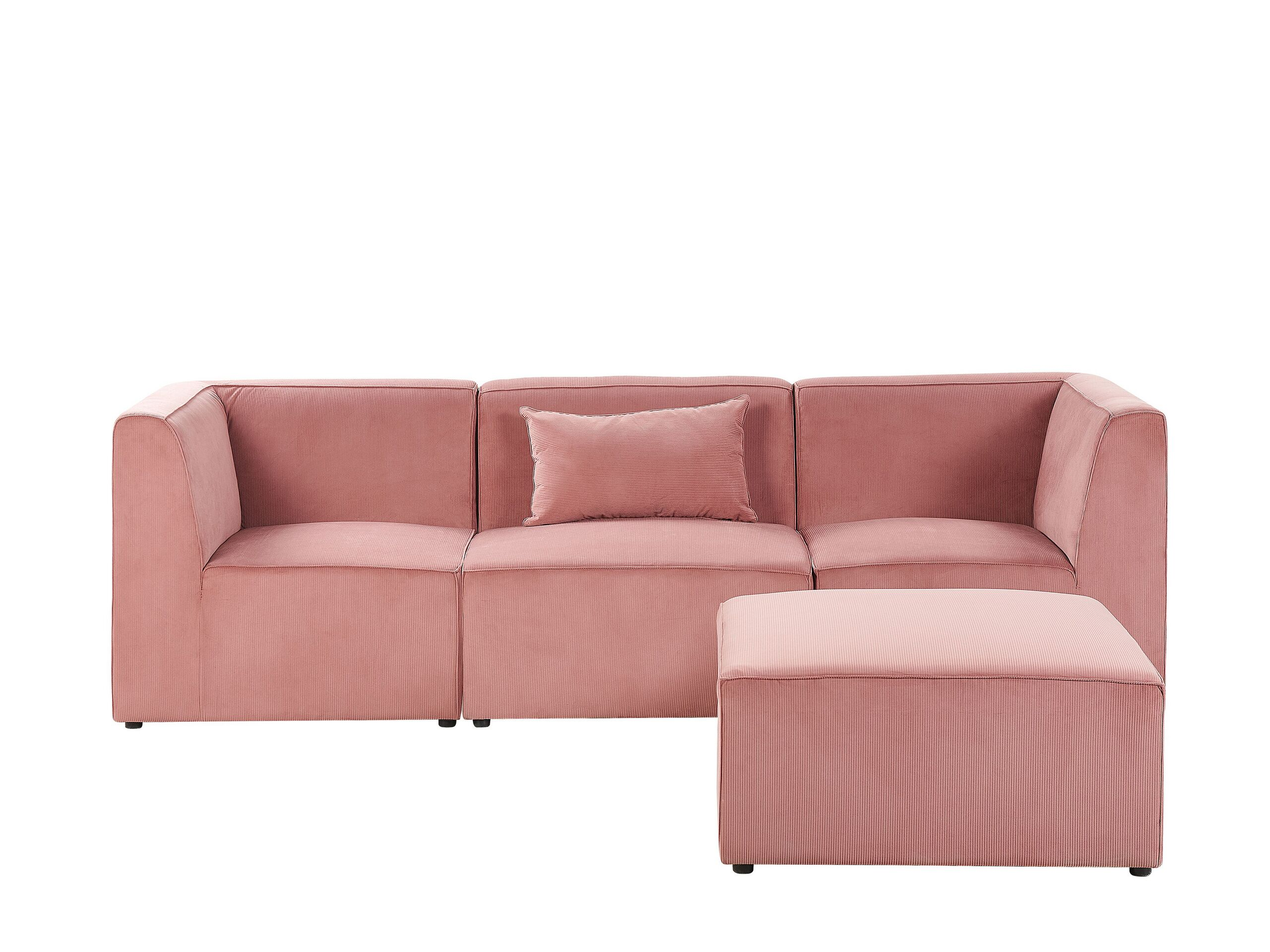 Canapé modulable 3 places Rose Velours Moderne Confort