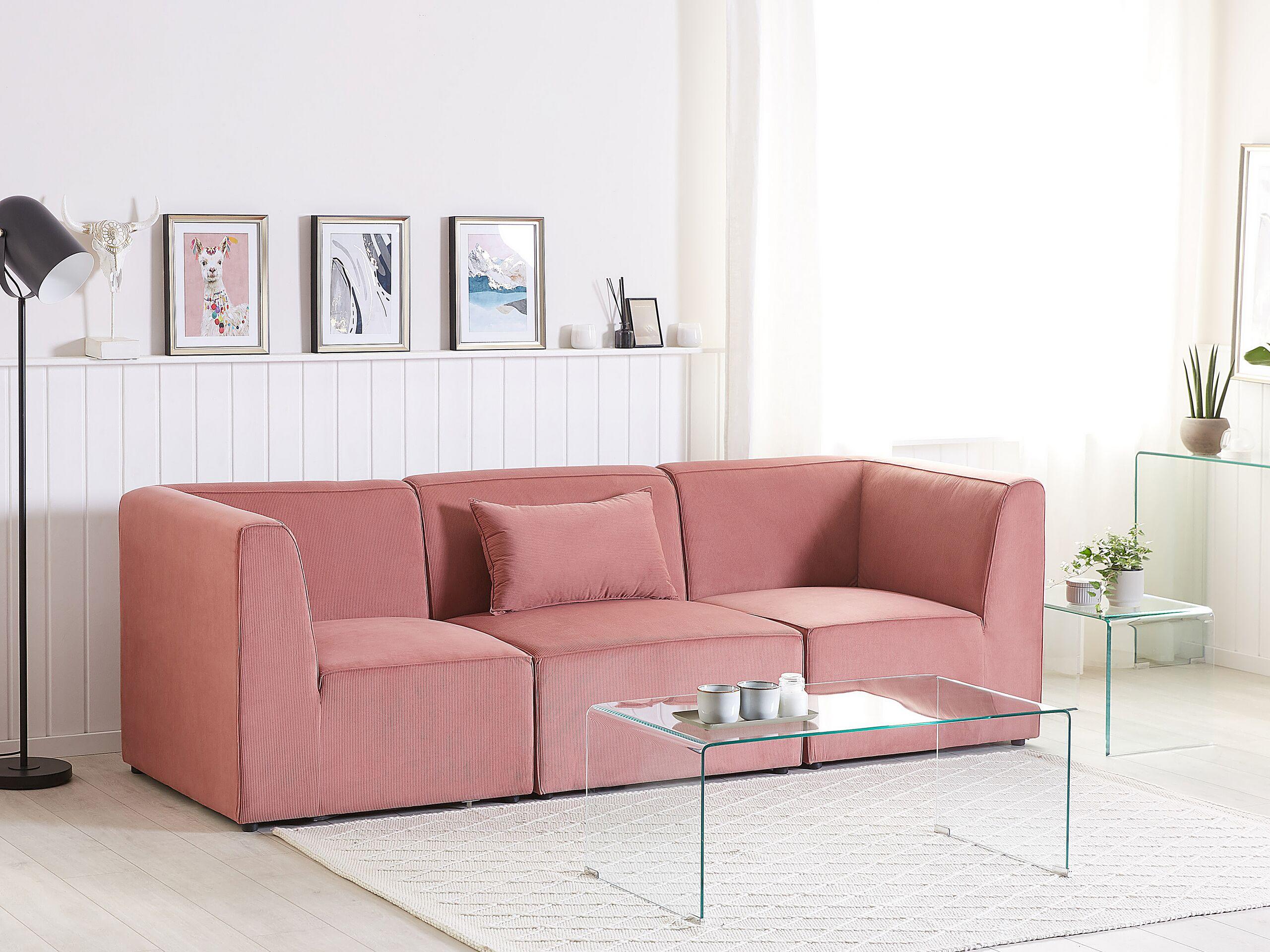 Canapé modulable 3 places en velours côtelé rose