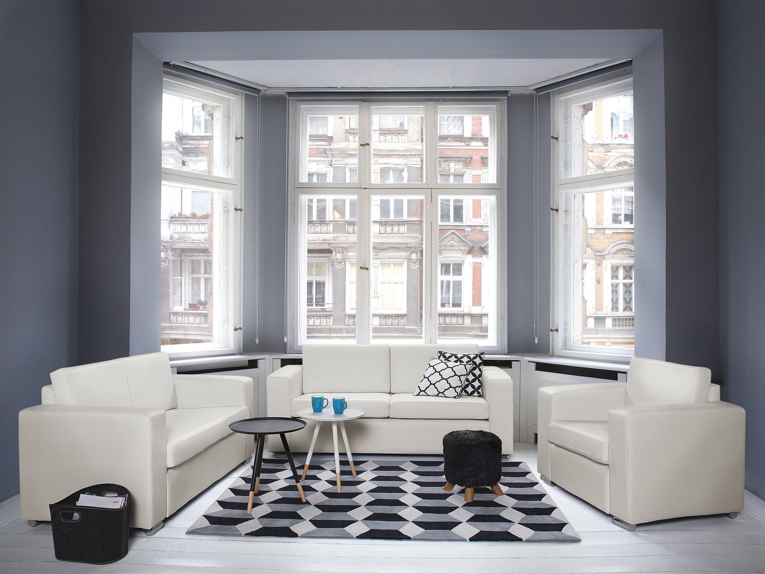 Canapé 3 places en cuir blanc