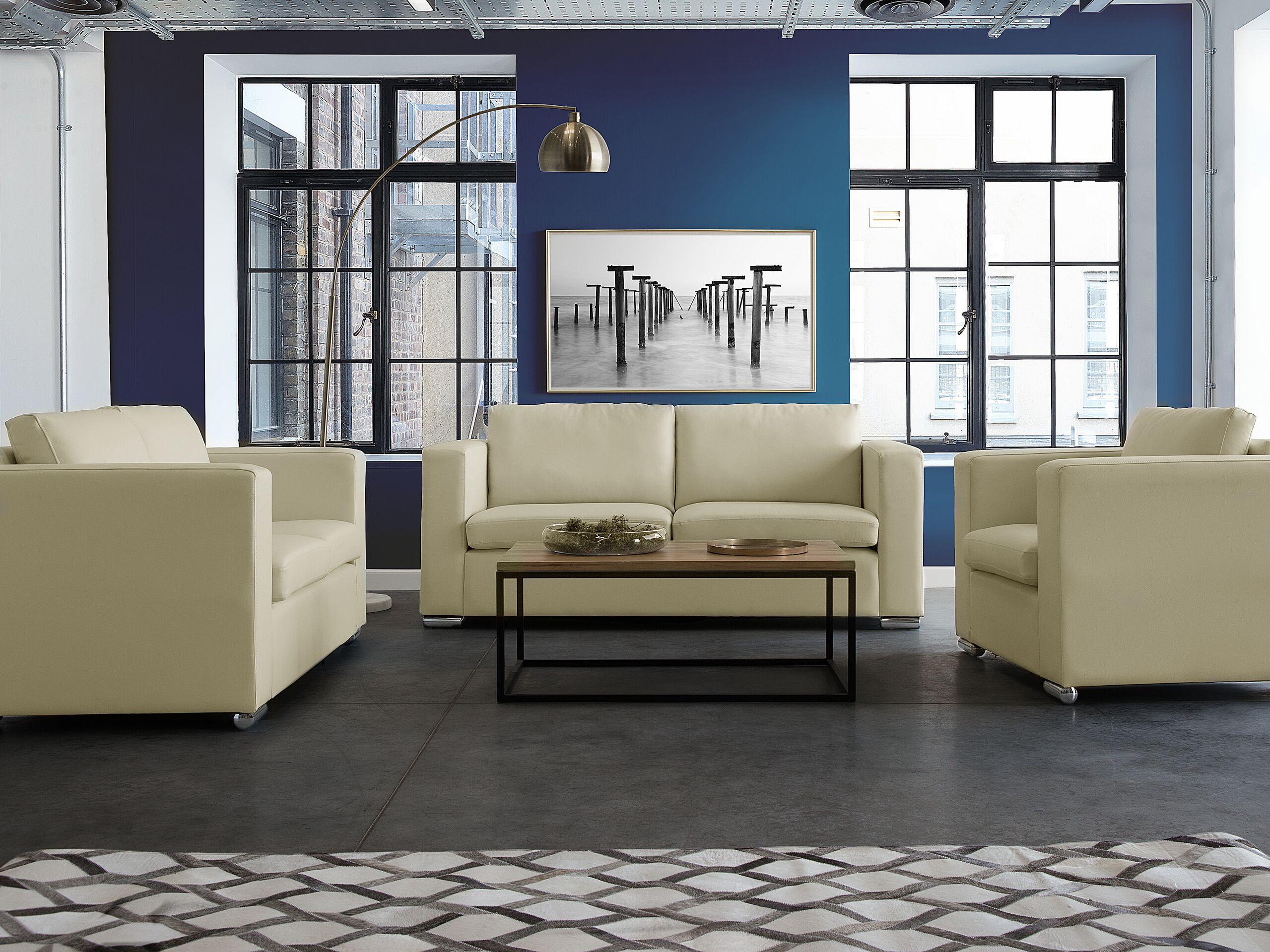 Canapé 3 places en cuir beige