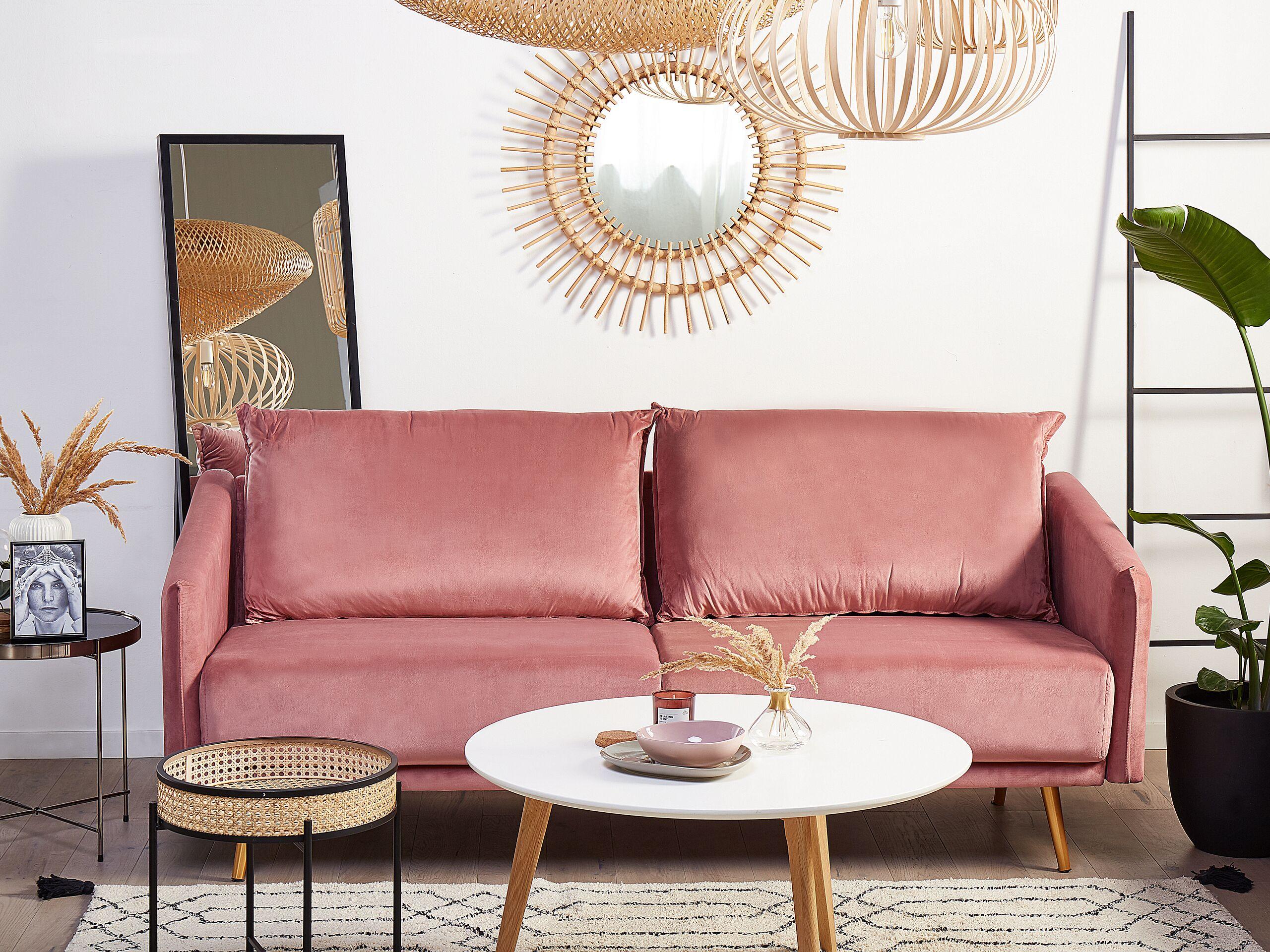 Canapé 3 places en velours rose
