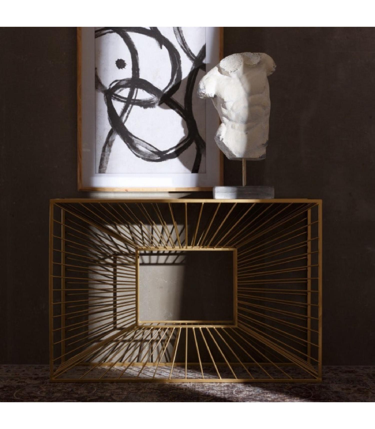 Console en métal doré et plateau miroir 120cm
