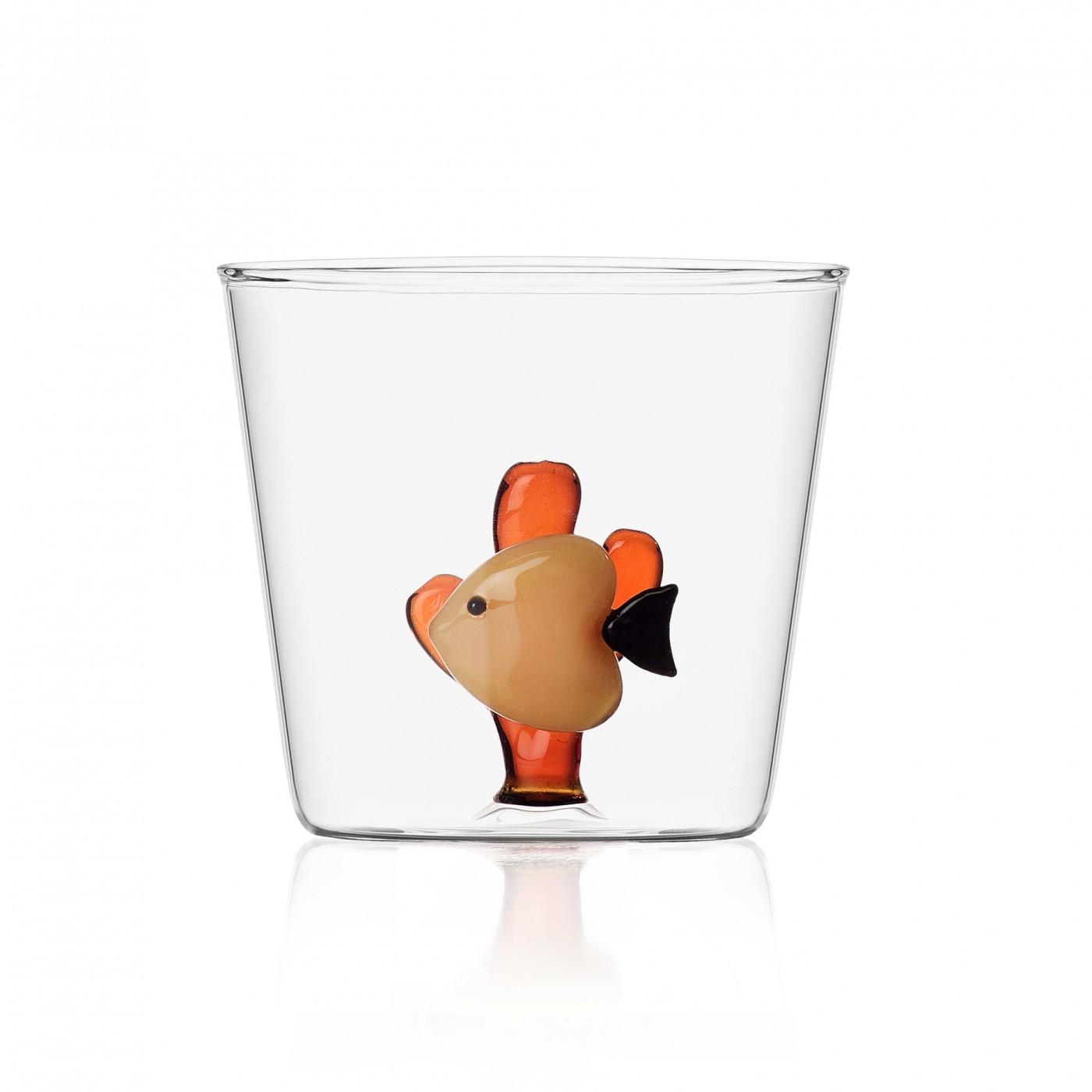 Verre tumbler poisson orange