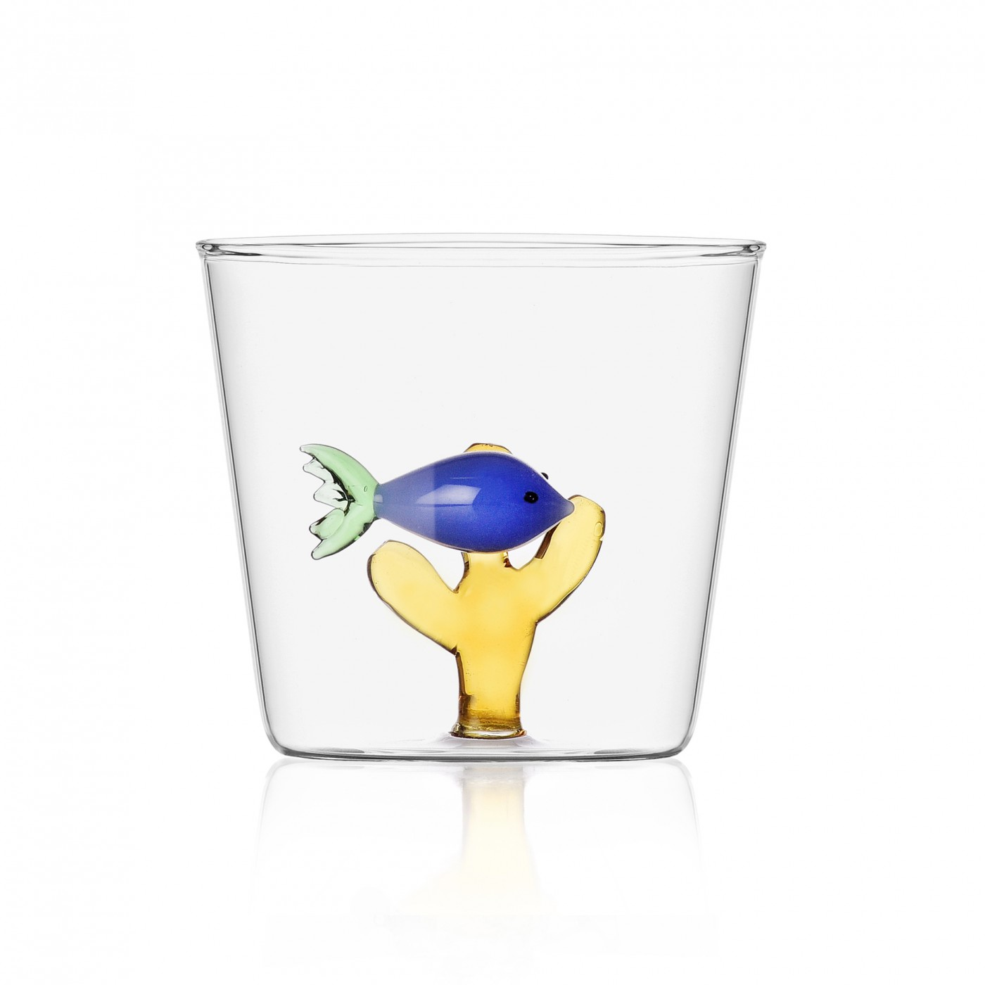 Verre tumbler poisson bleu
