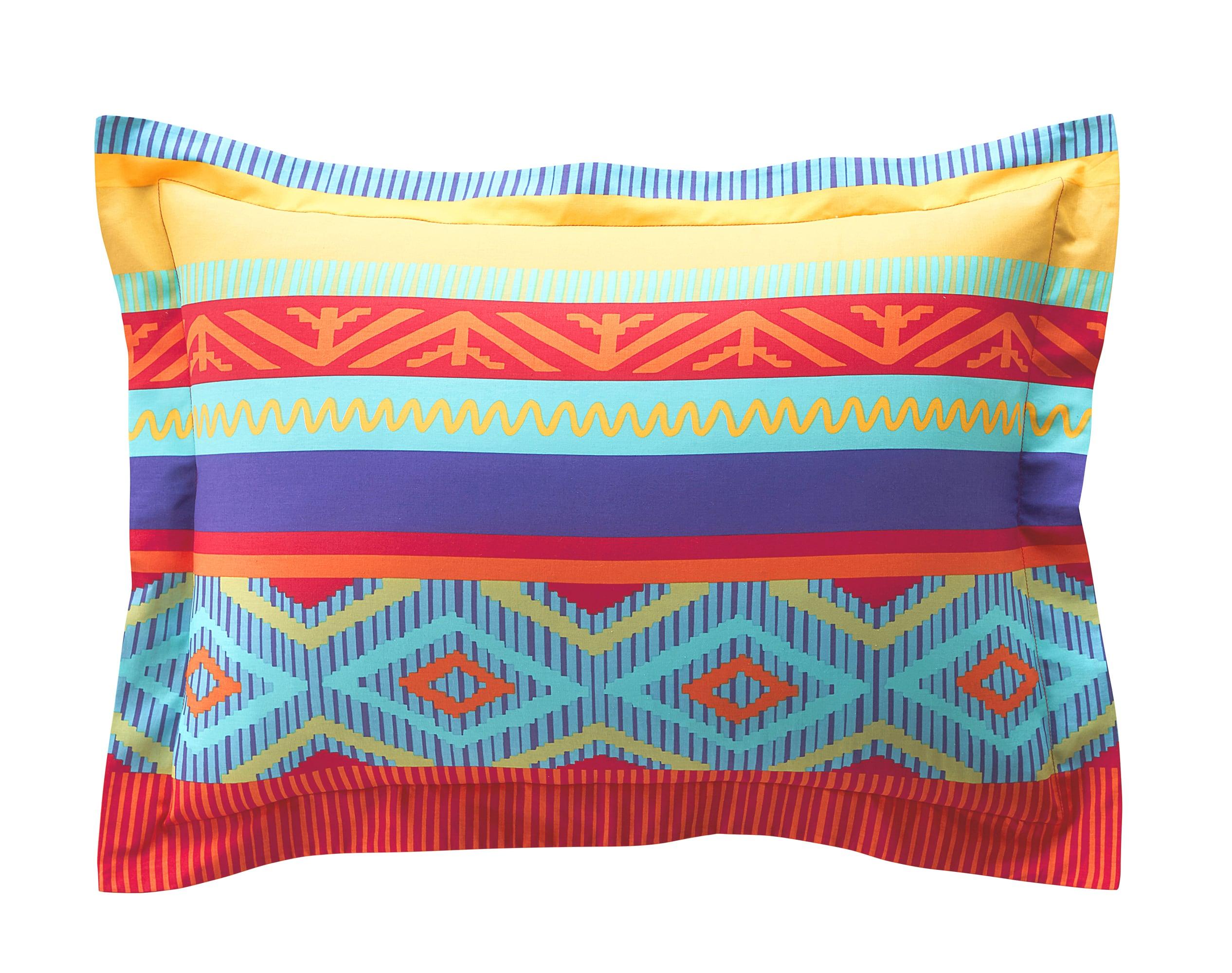 Taie d'oreiller rectangulaire en coton multicolore