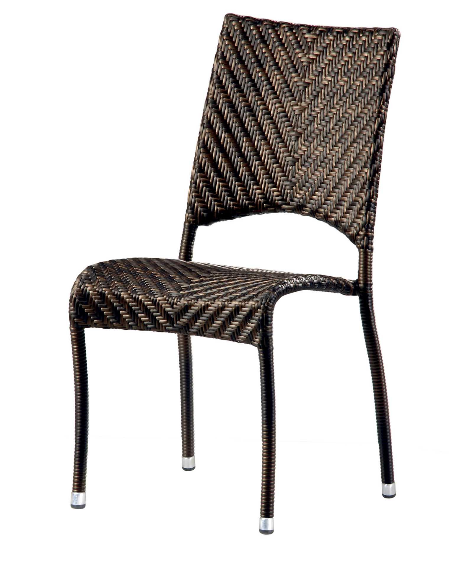 Chaise empilable en aluminium et fibres synthétiques bronze