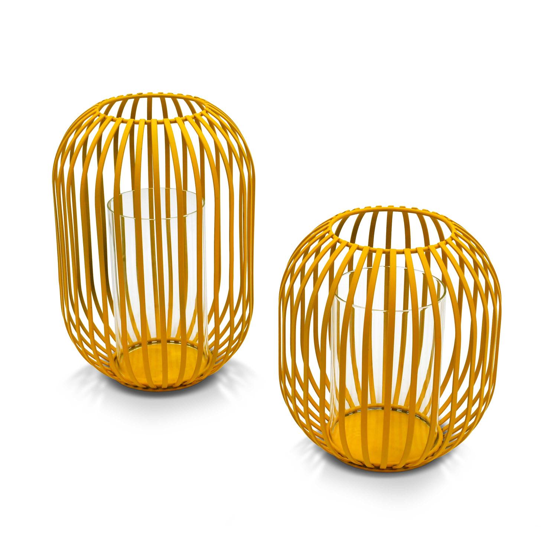 Lot de 2 lanternes filaires fer moutarde photophores avec verre